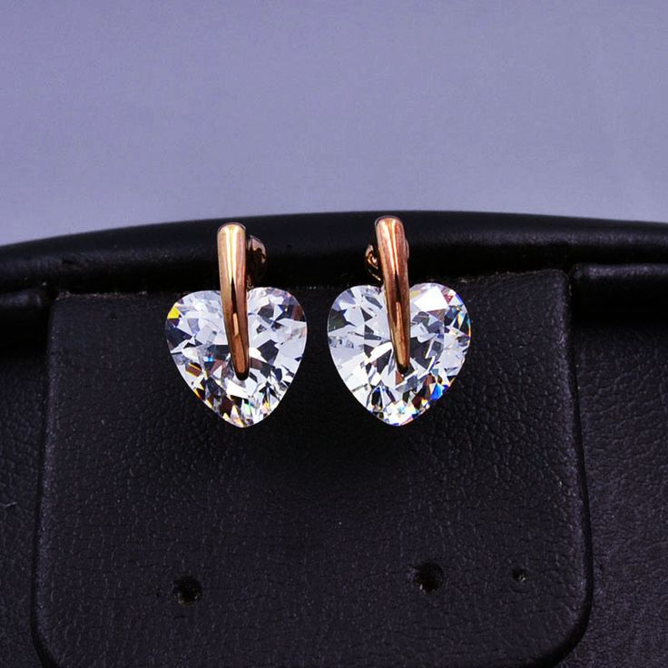 New fashion jewelry rose gold plated CZ zircon heart stud gift for women girl E2846