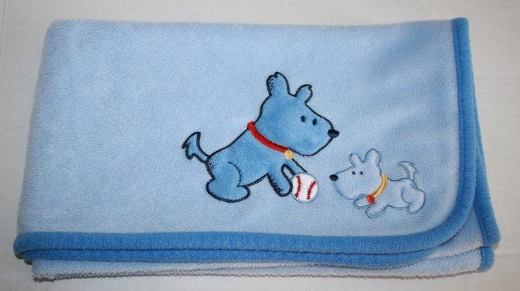 Carters Child of Mine blue Dogs Baseball Baby Blanket Fleece Security comforter #Carters