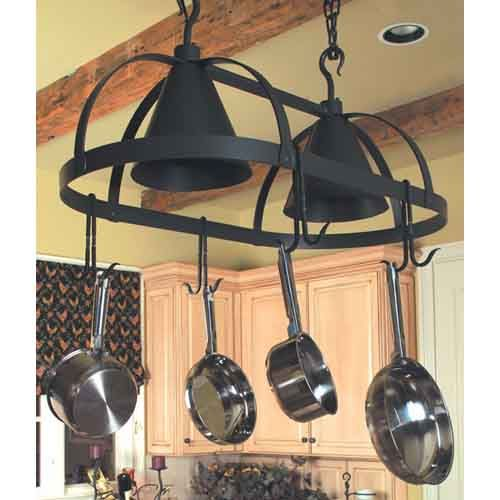 Lighted Hanging Pot Racks Kitchen: Oval Dutch Natural Black Lighted Pot Rack Stone County