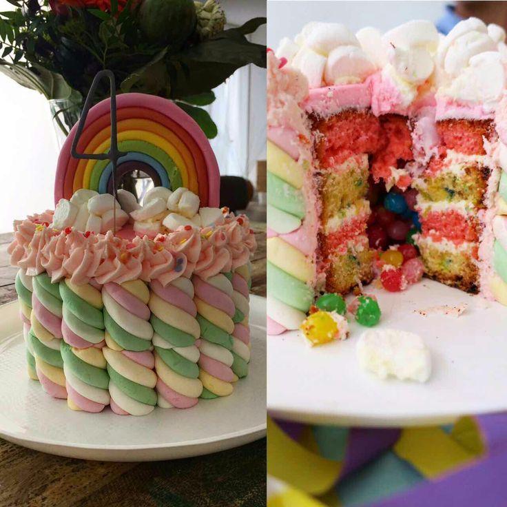 Mathilda's rainbow piñata cake