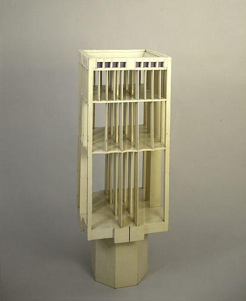 Charles Rennie Mackintosh (1868-1928) - Revolving Bookcase. Painted Wood. Circa 1900.