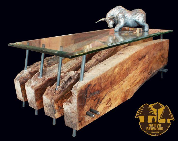 Nueva linea Maderos, Mesa de centro de Laurel seccionado con corteza y fierro forjado reciclado con cubierta de cristal de 0.60x1.40x15 mm espesor. www.facebook.com/nativoredwood