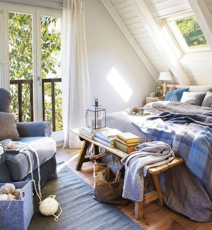 Dormitorio cálido y acogedor para invierno en azul y gris