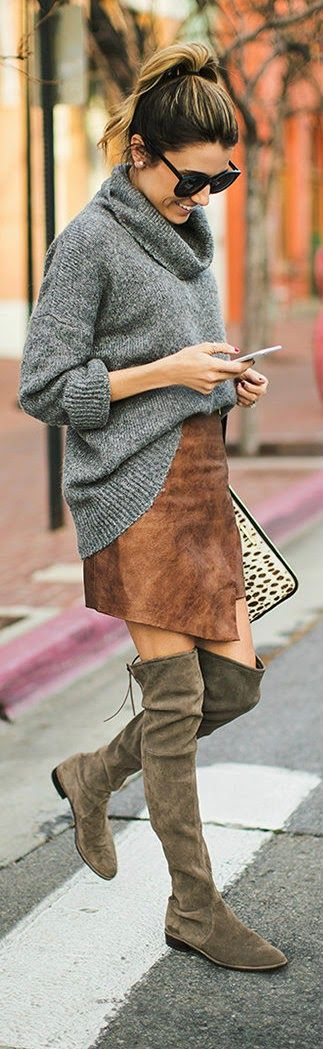 Oversized Cowl-neck Sweater, Leather Zip Mini Skirt, Leopard Clutch, Over Knee Boots / Hello Fashion