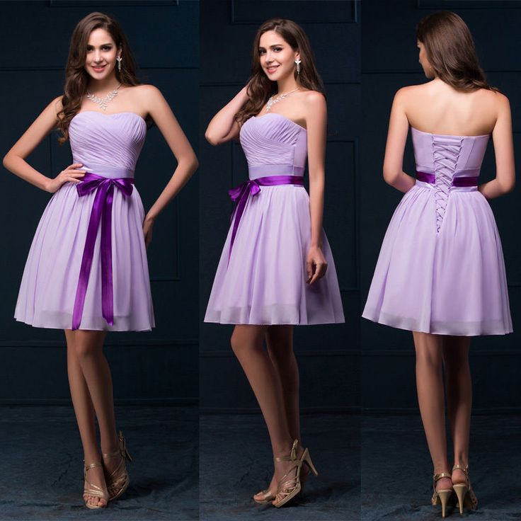 Lilac Chiffon Short Grad Dress Cocktail Party Evening Bridesmaid Wedding Dresses #GraceKarin #Sundress #Clubwear