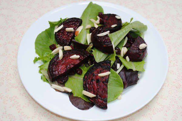 Grilled Beet Salad With Almonds and Dried Cranberries [Vegan] | One Green Planet