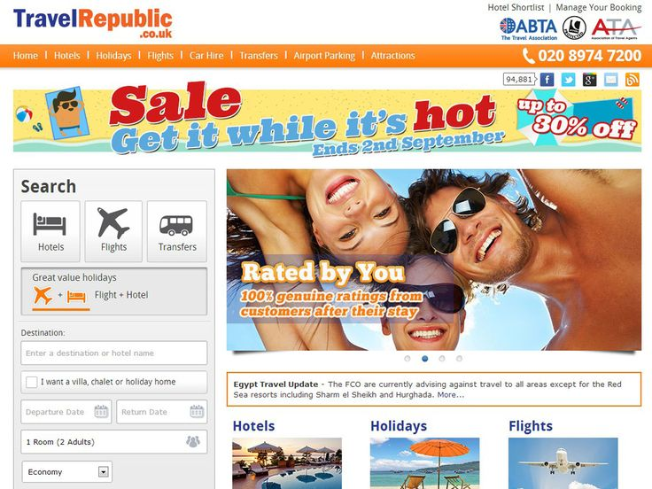 1. Travel RepublicWith around two million customers using the site to book their holidays, Travel Republic is bound to have some good deals. For its top destinations, such as Paris or the Costa Blanca, you could find flights for as little as £48, and the site also features a lowest-price guarantee, should you spot a better offer.travelrepublic.co.uk