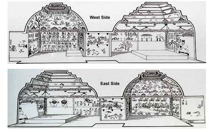 Goguryeo Tomb Murals - Diagram of Deokheung-ri Tomb Interior (408 A.D.)  Taean City, North Korea