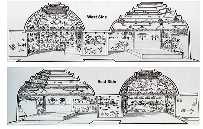 Goguryeo Tomb Murals - Diagram of Deokheung-ri Tomb Interior (408 A.D.) Taean City, North Korea