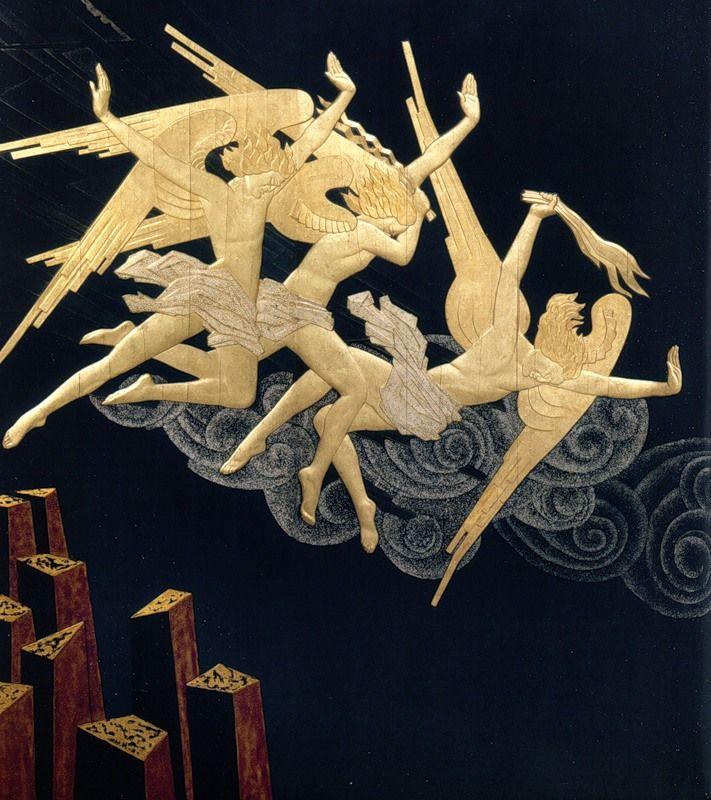 """Фортиссимо. В 1925-1926 годах известный русский скульптор, ученик Родена, Серафим Судьбинин выполнил по заказу Соломона Гугенхайма три ширмы для украшения музыкальной комнаты его резиденции в Порт-Вашингтон. На каждой из ширм на темном фоне в полете или падении изображены фигуры ангелов. Названия ширм - """"Фортиссимо"""", """"Крещендо"""", """"Пианиссимо"""" - призваны вызывать музыкальные ассоциации."""