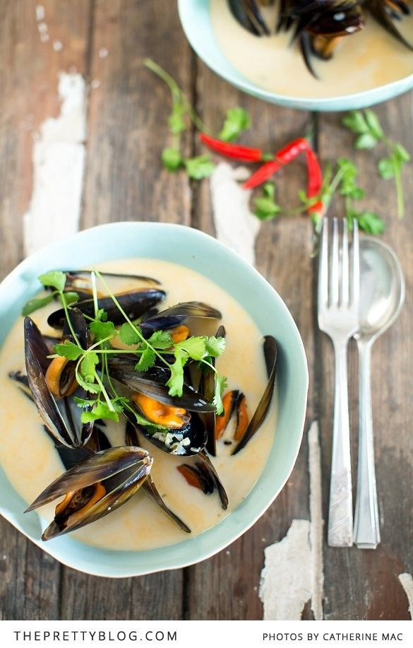 Steamed Mussels in a Tom Yum & Coconut Broth | Recipes | The Pretty Blog