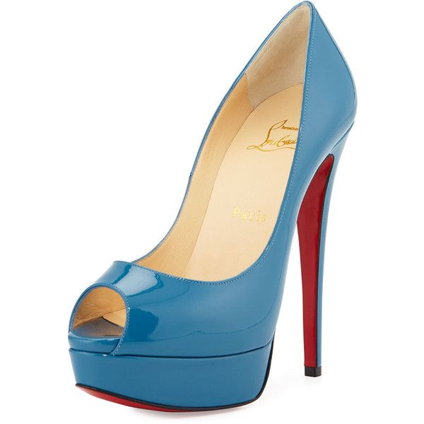 Christian Louboutin Lady Peep Patent Platform Red Sole Pump (€865) ❤ liked on Polyvore