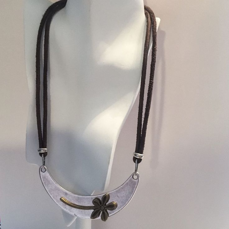 Shining Bee original Flower Silver/Brass Pendant on Distressed Leather Cord 20""