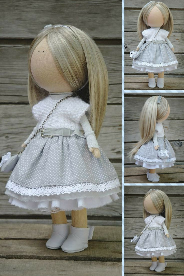 Soft doll Gray blonde Handmade Gift doll Baby doll Collectable doll Art doll Fabric doll Tilda unique magic doll by Master Margarita Hilko  This is unique magic doll created by Master Margarita Hilko (Kiev, Ukraine).  Doll is 29-31 cm tall. Doll can be a great present for your children, family, colleages or friends.  Style of doll easily helps to use such doll as home decoration and interior design.