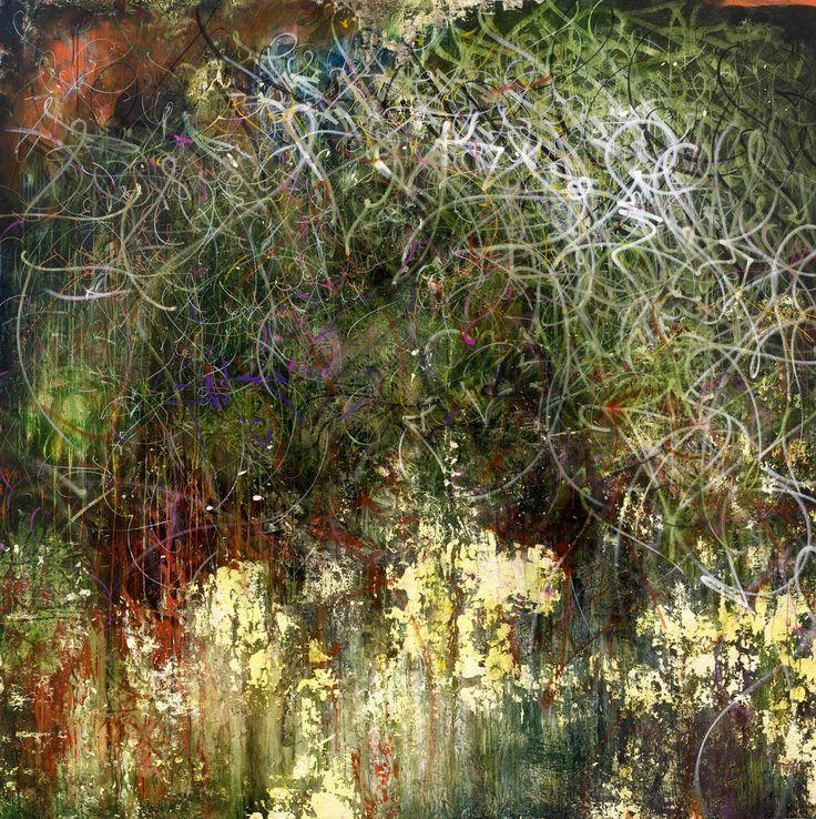 José Parlá Hackney Canal / Rio Don Diego  2009  9 x 9 feet acrylic, plaster, ink and oil on canvas