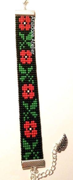 Bead loom bracelet Traditional bracelet Toho by AnadoreAtelier #beadedjewelry