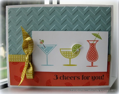 3 cheers for this card!Happy Hour, Stamp Sets, Hour Stamps, Cards I, Drinks Cards, Stamps Sets, Bows, Cheer Cards, Canopies Crafts