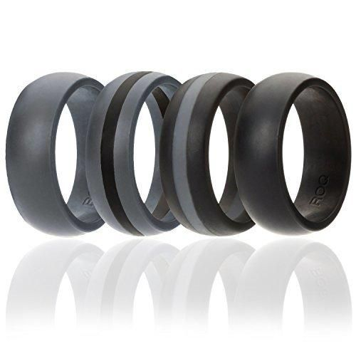 Silicone Wedding Ring For Men By ROQ 4 Pack Silicone Rubber Band - Black Black With Thin Grey Stripe Grey With Black Stripe Grey Size 13