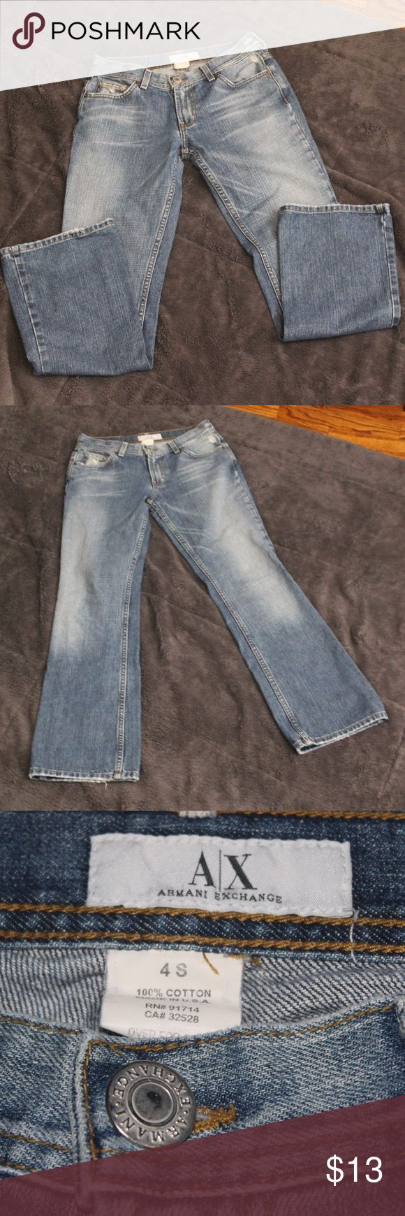 A/X Jeans These jeans are already broken in for you!  They do have some wear but the buttons and zipper work fine, in great shape, and no major holes/rips/tears.  Please see pics and I am happy to answer any questions! A/X Armani Exchange Jeans Boot Cut