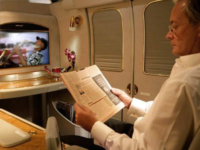 Emirates Airlines has First Class private cabins. I can't even image. Awesome.