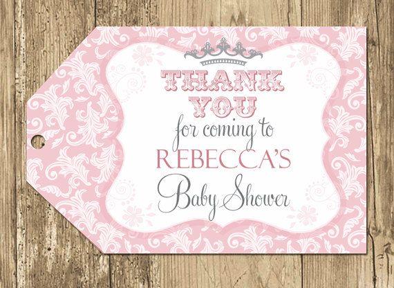 princess baby shower favor tag pink and grey baby shower floral baby shower goody bag tag thank you tags bag tags