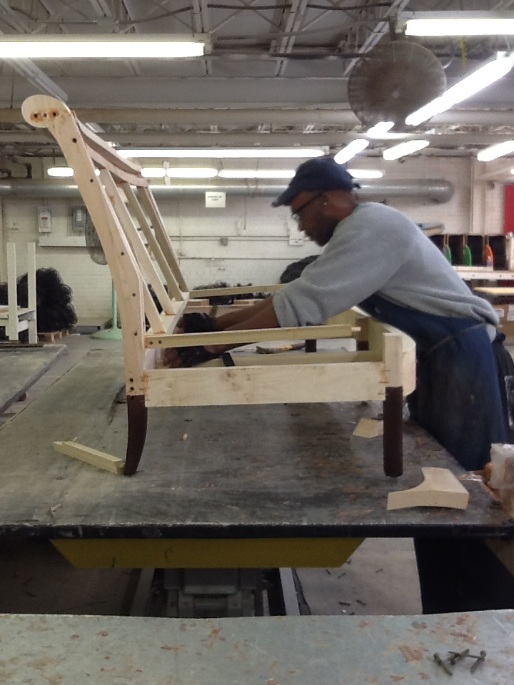 Assembling a hard-wood sofa frame @Hickory Chair - we make it to ... : How To Make A Wood Chair Frame For Kids