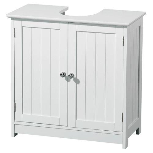Under Sink Bathroom Cabinet White Wood, 2402060