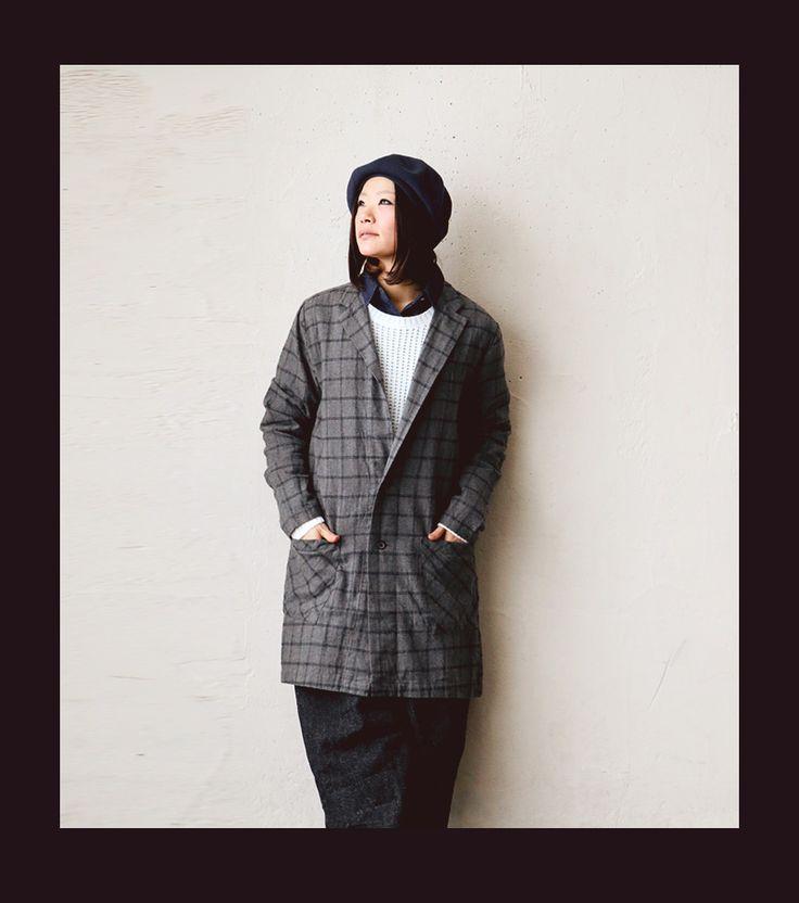 【楽天市場】【送料無料】 Audience [オーディエンス] ドクターコート 薄手ネルシャツ素材 ウィンドウペン チェック メンズ レディース チャコール コート アウター 羽織り 日本製:PATY