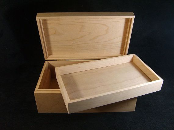 Unfinished Wood Box with Hinges & Tray-10 by designcraftindustrie