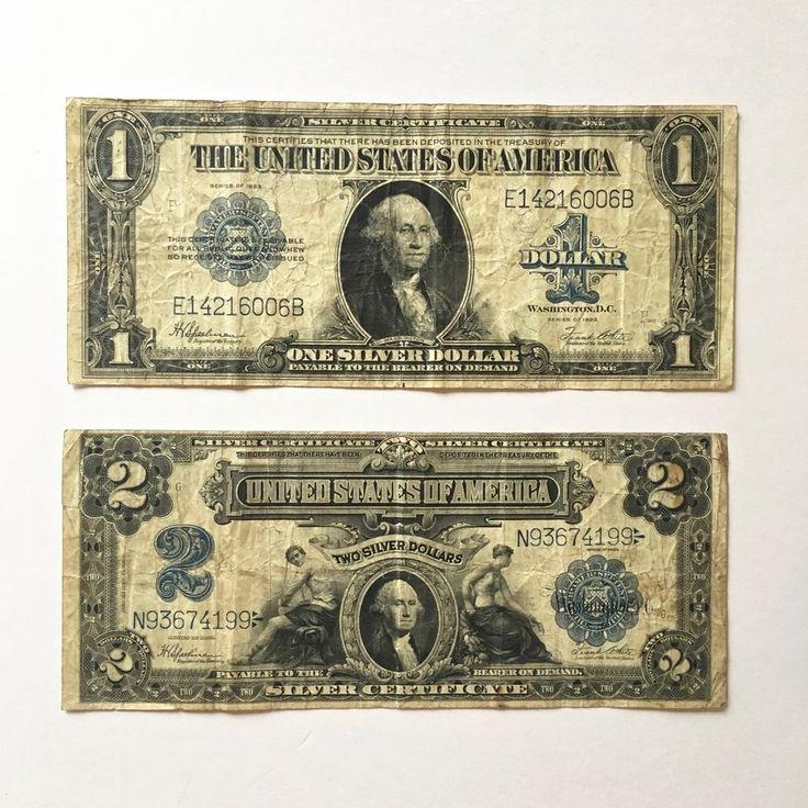 Set of 2 Silver Certificate Bills: 1923 $1; 1899 $2—Mini-Porthole
