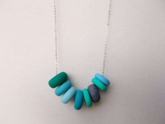 Handcrafted polymer clay necklace in Seafoam, by craft & folk  https://www.etsy.com/ie/listing/219484423/seafoam-handmade-polymer-clay-necklace?ref=shop_home_active_9