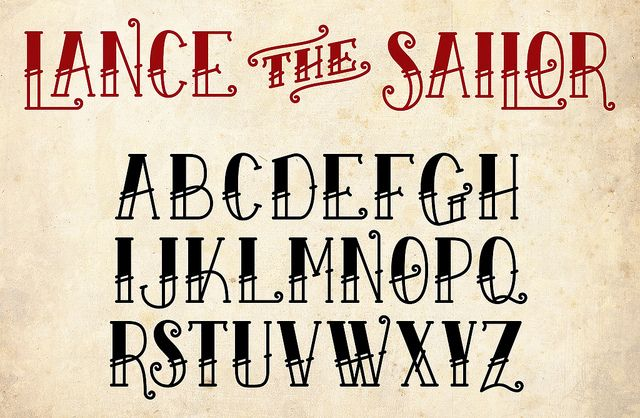 Tattoo font? Lance the Sailor font by Ethan Allen Smith.  Love, love, love.