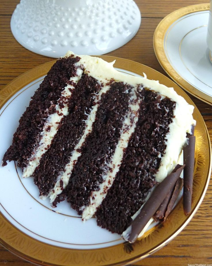 An intense chocolate cake with cream cheese frosting ...