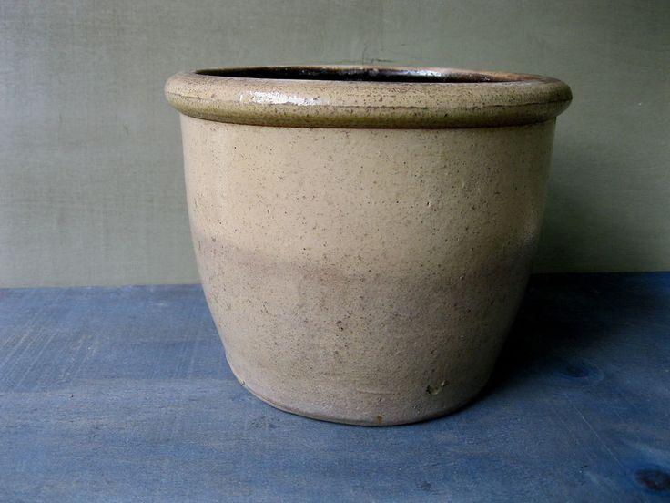 Antique Crock Primitive Stoneware Pottery, 1/2 Gallon, Circa 1880