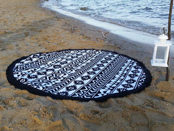 """Ręcznik Plażowy Okrągły """"AZTEC Black"""" 150 cm"""