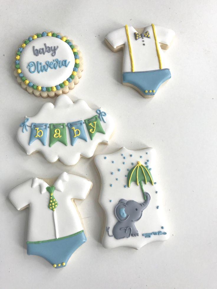 Baby shower cookies, elephant cookies, baby onesie cookies, elephant baby shower