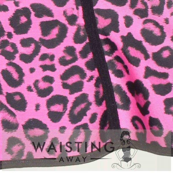 Pink 4 Steel Bone Cheetah Latex Waist Trainer Corset Corset
