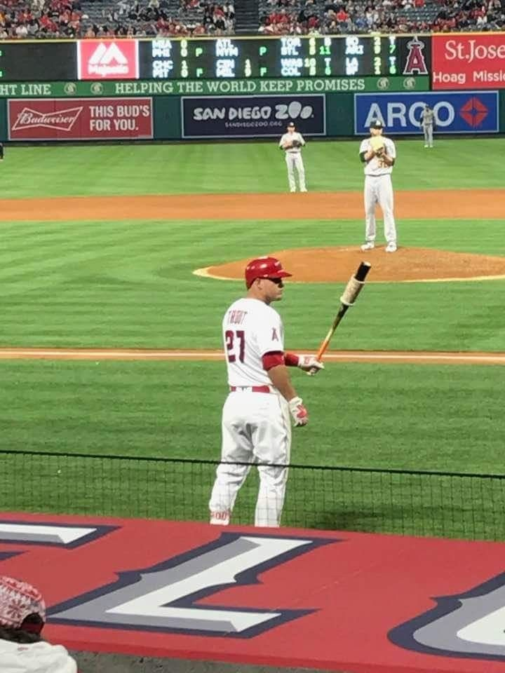 There he is! I see him! It's Mike Trout! He's on number 27 and plays baseball of the Angels