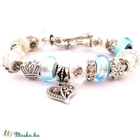 Jégkirálynő! - ezüst és kék karkötő pandora stílusban hópihével (ButterflyJew) - Meska.hu