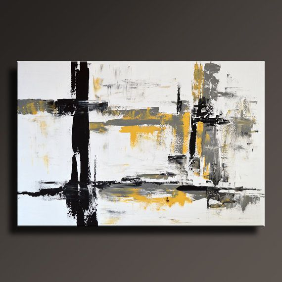 48 grand jaune gris noir blanc peinture abstraite sur for Decor contemporain moderne