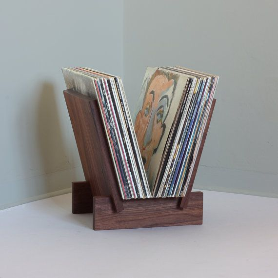 LP Record Stand in Solid Walnut by LLTTgoods on Etsy