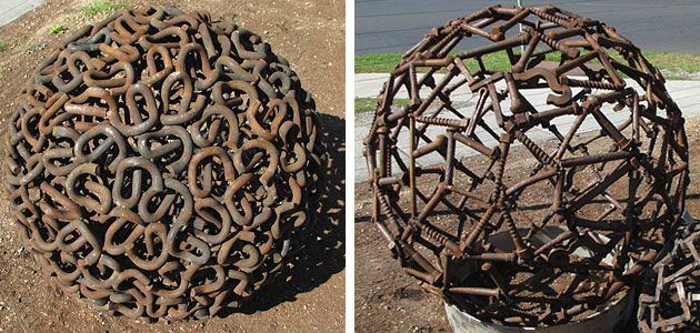 Recycled metal garden orb or sphere, Redgum & Iron, North Geelong. Inspiration only.