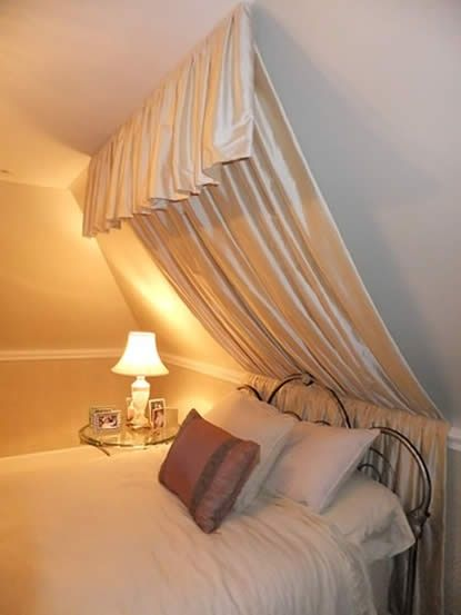 bedroom with slanted ceilings   Want to do something similar with the sloped ceilings in the bedroom
