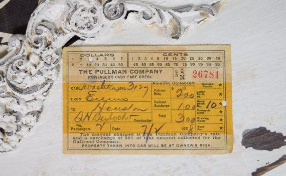 1928 Pullman Company Passenger's Cash Fare Check-Train Ticket-1920s