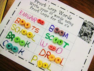 1st grade learning - oo words with Froot Loops! ;)