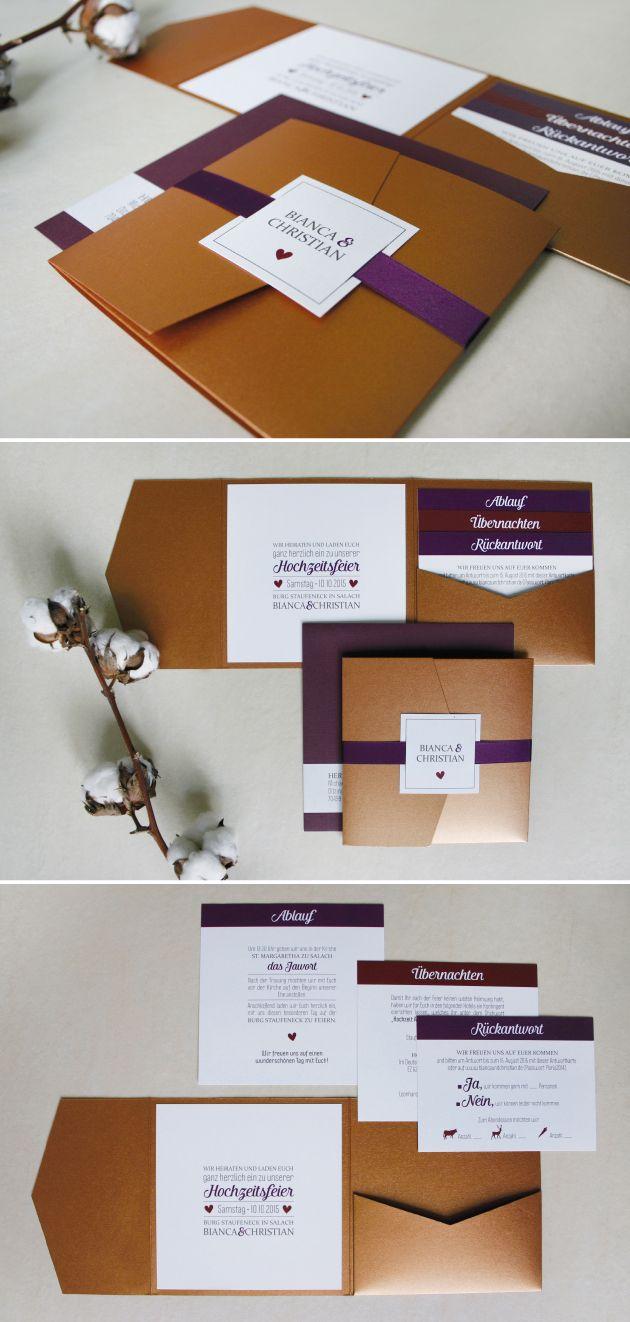 Edle Pocketfold #Einladungskarte in Kupfer