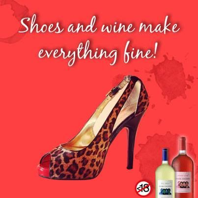 """""""Give a girl the right shoes and she will conquer the world,"""" Marilyn Monroe once said. We say: add a glass of wine to that and she'll conquer the universe!"""