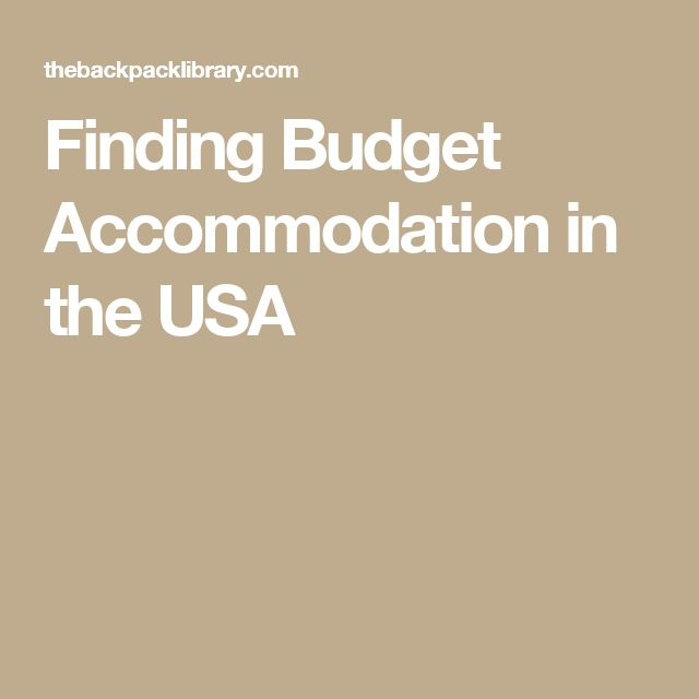 Finding Budget Accommodation in the USA