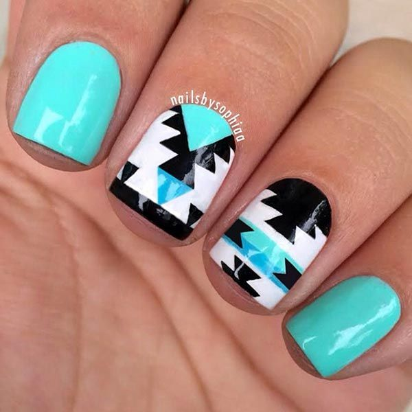 Aztec tribal print teal and blue nails