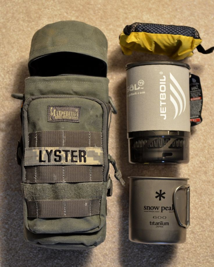 Maxpedition 12x5 Bottle Holder, Jetboil Sol Ti, Snow Peak 600 Mug, MSR PackTowl®